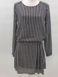 H & M Drop Waist Black White Star Patterned Dress